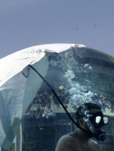 The 8-foot acrylic sphere: David Blaine's home last week