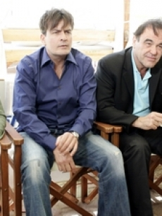 Willem Dafore, Charlie Sheen, Oliver Stone, and Tom Berenger