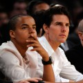 Tom Cruise and son Connor sitting courtside as the Los Angeles Lakers played the Denver Nuggets in the NBA Playoffs (May 2009)