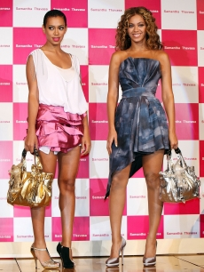 Beyonce and Solange Knowles promote Samantha Thavasa &amp; Disney Collection at Tokyo Disneyland Hotel in Japan on August 10, 2009 
