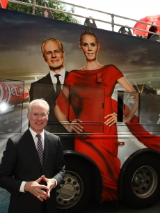Tim Gunn gets out the word for Project Runway's move to Lifetime on the streets of Manhattan on August 19, 2009 in New York City