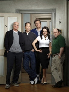Larry David, Jerry Seinfeld, Michael Richards, Julia Louis-Dreyfus and Jason Alexander on &#8216;Curb Your Enthusiasm,&#8217; 2009