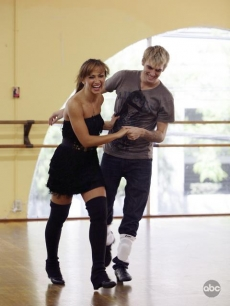 Karina Smirnoff and Aaron Carter share a laugh as they rehears for &#8216;DWTS,&#8217; August 2009