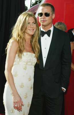 Jennifer Aniston and Brad Pitt at the Emmys, Sept. 19, 2004