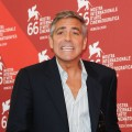 George Clooney steps out with a bandaged hand at the 'The Man Who Stare At Goats' photocall at the Palazzo del Casino during the 66th Venice Film Festival on September 8, 2009 in Italy