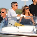 George Clooney and Elisabetta Canalis spotted aboard a water taxi during the 66th Venice Film Festival on September 7, 2009 in Venice, Italy