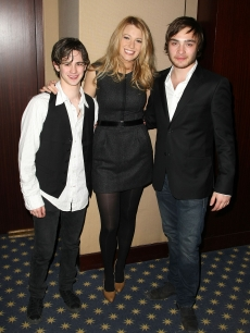 Connor Paolo, Blake Lively and Ed Westwick attend a private screening of 'Elvis & Anabelle' in New York City on February 28, 2008