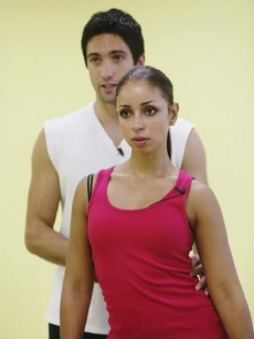 Mya rehearses for 'Dancing With the Stars' with her partner Dmitry Chaplin, Aug. 2009