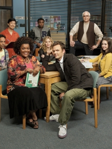 Yvette Nicole Brown as Shirley, Joel McHale as Jeff, Danny Pudi as Abed, Gillian Jacobs as Britta, Alison Brie as Annie, Ken Jeong as Senor Chang, Donald Glover as Troy and Chevy Chase as Pierce in NBC's 'Community'