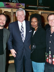 Billy Crystal, Senator Ted Kennedy, Whoopi Goldberg and Robin Williams at HBO's seventh annual Comic Relief, Sept. 7, 1995