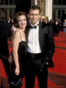 Winona Ryder and Christian Slater at the Shrine Auditorium in Los Angeles, California in 1989