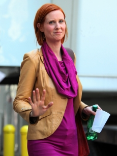 Cynthia Nixon is spotted filming 'Sex and The City 2' on the streets of Manhattan, Sept. 2, 2009