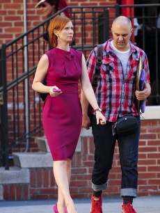 Cynthia Nixon spotted looking pretty in pink on location for the filming of 'Sex And The City 2' at PS 6 The Lillie Devereaux Blake School on September 2, 2009 in New York City