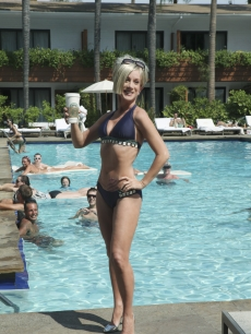 Kathy Griffin, as Kate Gosselin, poses poolside in a spot for &#8216;Jimmy Kimmel Live,&#8217; Sept. 2009