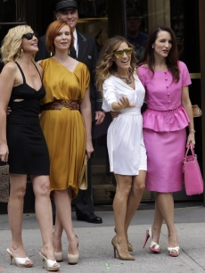 Kim Cattrall, Cynthia Nixon, Sarah Jessica Parker and Kristin Davis are photographed on the set of 'Sex and The City 2' in New York City on September 8, 2009