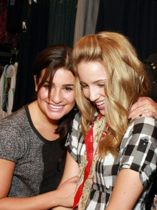 Lea Michele and Dianna Agron attend The Gleek Tour at Hot Topic in the Galleria Mall in Dallas, Texas on August 26, 2009