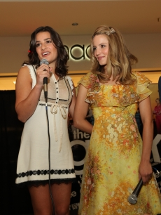 Lea Michele and Dianna Agron of FOX TV's show 'Glee' attend a meet-and-greet at Orland Square, Orland Park in Chicago, Illinois on August 21, 2009