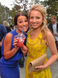 Lea Michele and Dianna Agron attend the GLEE premiere event screening at Santa Monica High School in Santa Monica, California on May 11, 2009