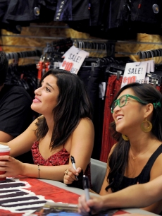Cory Monteith, Lea Michele, Jenna Ushkowitz and Kevin McHale of FOX TV's show 'Glee' sign autographs at a meet-and-greet at the Hot Topic clothing store at the Fair Oaks Mall in Fairfax, Virginia on August 20, 2009