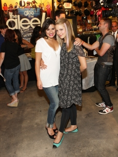 Lea Michele and Dianna Agron attend The Gleek Tour in Newark, New Jersey on August 18, 2009