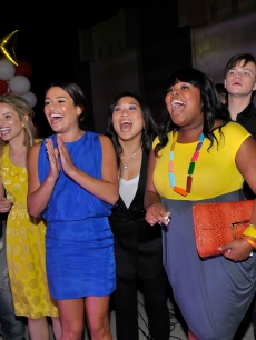Mark Salling, Dianna Agron, Lea Michele, Jenna Ushkowitz, Amber Riley, and Chris Colfer attend the GLEE premiere event screening at Santa Monica High School in Santa Monica, California on May 11, 2009