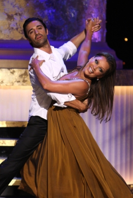 Gilles Marini and Vanessa Williams give it a whirl at the 36th Annual Daytime Emmy Awards at the Orpheum Theatre in Los Angeles on August 30, 2009