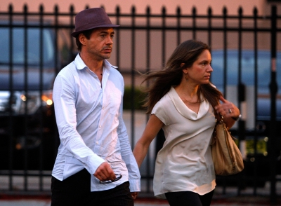 Robert Downey Jr. and Susan Downey arrive at the memorial service for 'DJ AM' Adam Goldstein at The Hollywood Palladium on September 3, 2009