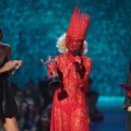Lady in red: Lady GaGa accepts the award for Best New Artist during the 2009 MTV Video Music Awards at Radio City Music Hall in New York City on September 13, 2009