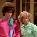 American actor Tom Hanks (left, as Buffy Wilson) and Peter Scolari (as Hilde Desmond) in a scene from an episode of the television comedy series 'Bosom Buddies' entitled 'Cahoots,' Los Angeles, California, April