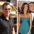 Matt Damon, Elisabetta Canalis and George Clooney