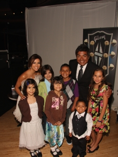 Eva Longoria Parker and George Lopez with the Children of Padres Contra El Cancer at the organization's 9th Annual Fund Raising Gala, 'El Sueno De Esperanza' on September 10, 2009