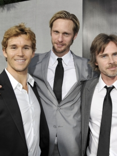 Ryan Kwanten, Alexander Skarsgard and Sam Trammell pose at the premiere of the 2nd season of HBO&#8217;s &#8216;True Blood&#8217; at the Paramount Theater, LA, June 9, 2009