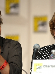 Sam Trammell and writer Charlaine Harris speaks during &#8216;True Blood&#8217; Q&amp;A at Comic-Con 2009 held at San Diego Convention Center on July 25, 2009