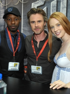 Nelsan Ellis, actor Sam Trammell and actress Deborah Ann Woll attend 'True Blood' signing at Comic-Con 2009 held at San Diego Convention Center on July 25, 2009