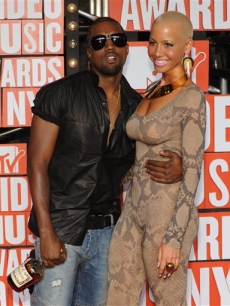Kanye and Amber Rose are all smiles at the MTV Video Music Awards in New York City on September 13, 2009