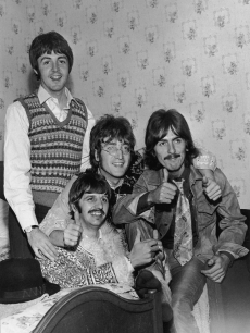 The Beatles: Paul McCartney, Ringo Starr, John Lennon and George Harrison in their hotel room in Teignmouth, Devon during the filming of 'The Magical Mystery Tour,' September 12, 1967
