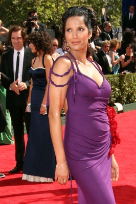 'Top Chef's' Padma Lakshmi sports a royal purple gown at the 61st Primetime Emmy Awards held at the Nokia Theatre on September 20, 2009 in Los Angeles, California