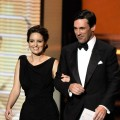 Tina Fey and Jon Hamm present the Outstanding Supporting Actress in a Comedy Series award during the 61st Primetime Emmy Awards held at the Nokia Theatre, Los Angeles, September 20, 2009