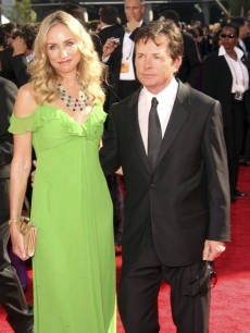 Tracy Pollan and Michael J. Fox make a cute couple at the 61st Primetime Emmy Awards at the Nokia Theatre in LA on September 20, 2009