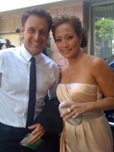 'The Bachelor's' Chris Harrison posted this picture of himself with 'Dancing's' Carrie Ann Inaba and tweeted 'On our way to red carpet #tvgemmys