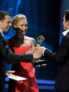 Jon Cryer and Hayden Panettiere present the Outstanding Host For A Reality Or Reality-Competition Program award to Jeff Probst of &#8216;Survivor&#8217; at the 61st Primetime Emmy Awards, Los Angeles, Sept. 20, 2009