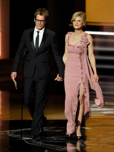Kevin Bacon and wife Kyra Sedgwick present the Outstanding Supporting Actress in a Miniseries or Movie award onstage during the 61st Primetime Emmy Awards held at the Nokia Theatre, LA, September 20, 2009