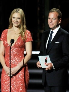 Anna Torv and Kiefer Sutherland present the Outstanding Made For Television Movie award onstage during the 61st Primetime Emmy Awards held at the Nokia Theatre, LA, September 20, 2009