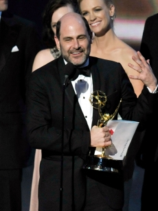 Creator Matthew Weiner accepts the Outstanding Drama Series award for 'Madmen' onstage during the 61st Primetime Emmy Awards held at the Nokia Theatre, LA, September 20, 2009