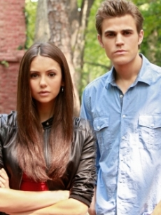 Nina Dobrev as Elena and Paul Wesley as Stefan in 'The Vampire Diaries'