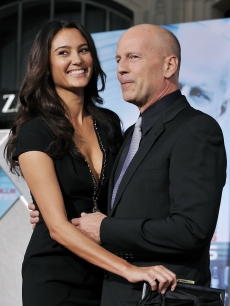 Bruce Willis and wife Emma Heming looking spectacular at the premiere of 'Surrogates' at the El Capitan Theater on September 24, 2009 in Los Angeles, California