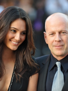 Bruce Willis and his wife Emma Heming arrive for the world premiere of 'Surrogates' in Los Angeles on September 24, 2009