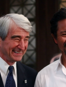 Sam Waterston and Benjamin Bratt smile at the 'Law & Order' 20th season kickoff celebration in New York City on September 23, 2009