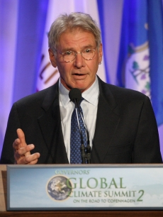 Harrison Ford speaks as U.S. governors and international leaders convene at the Governors' Global Climate Summit 2 on September 30, 2009 in Century City, California