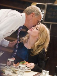 David Letterman kisses Madonna goodbye during a taping of &#8216;The Late Show with David Letterman&#8217; in New York, Wednesday, Sept. 30, 2009
